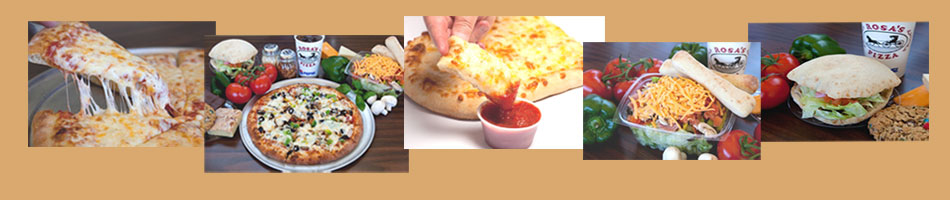 Images of some pizza, salads, 